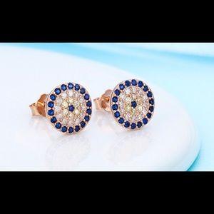 10 MM Rose gold over 925 evil eye stud earring